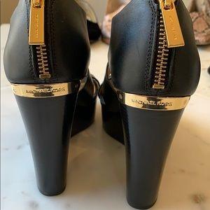 Michael Kors Shoes - Michael Kors Black Leather Wedge